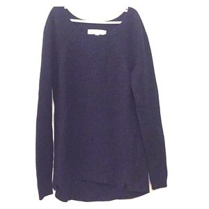 Navy textured wool/rayon blend sweater